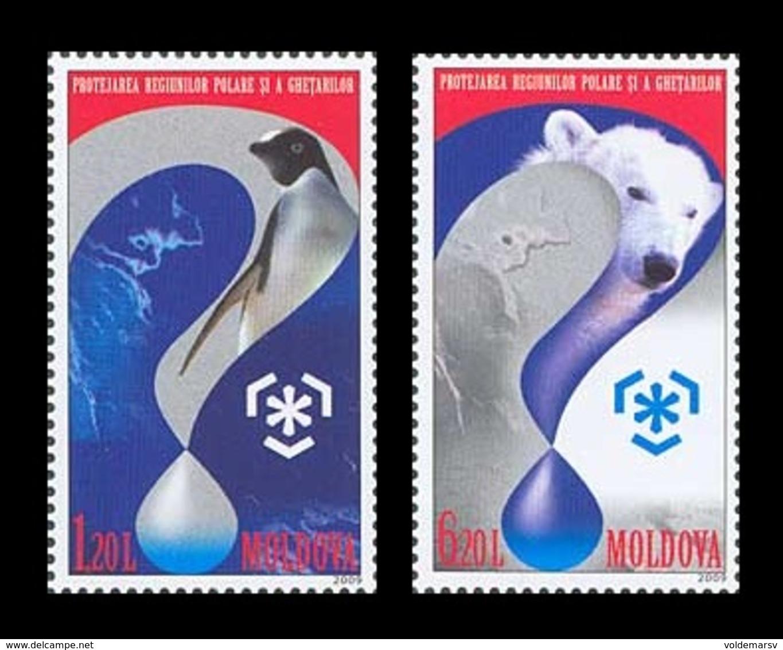 Moldova 2009 Mih. 645/46 Protection Of The Polar Areas And Glaciers. Fauna. Penguin. Polar Bear MNH ** - Moldavia