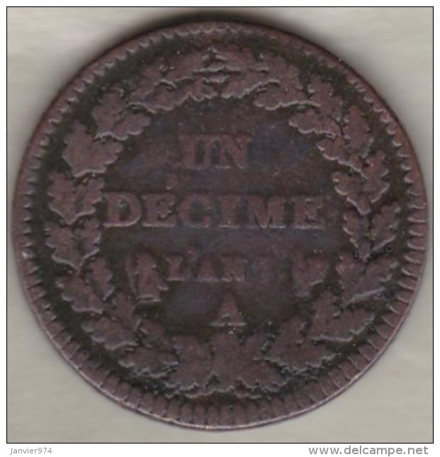 Directoire . Un Decime L'An 7 A Paris - D. 10 Centimes