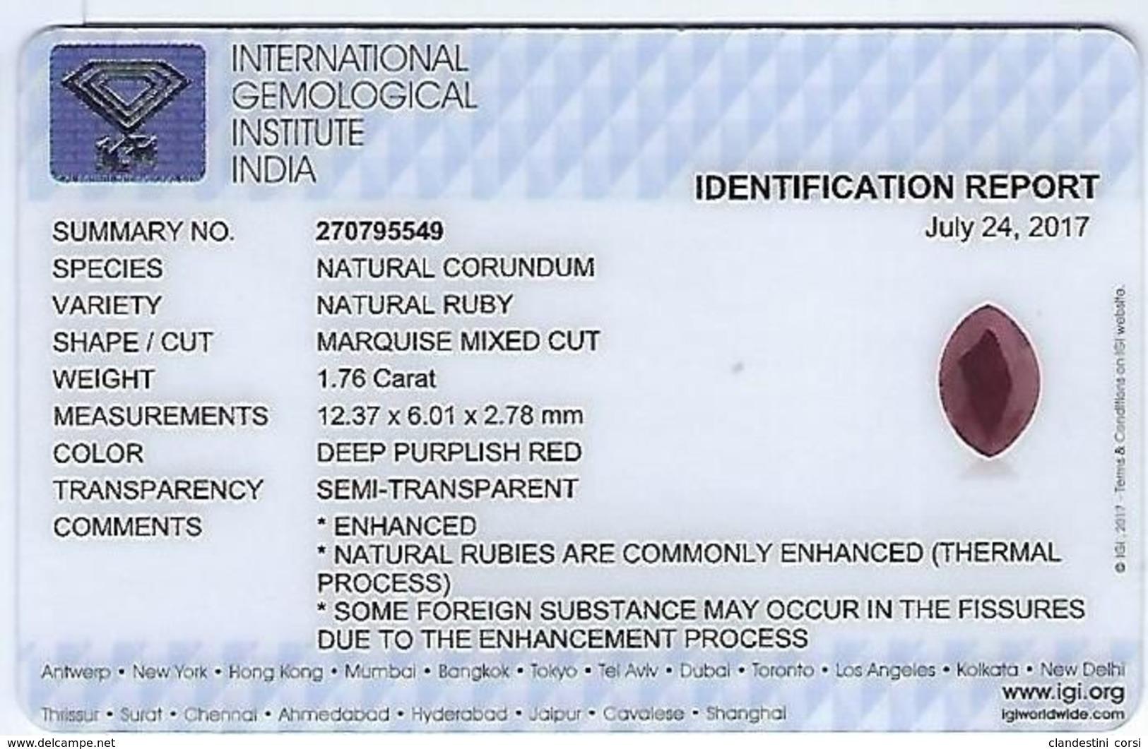 Rubis Naturel 1,76 Ct Avec Certificat Gemmologique - Rubis