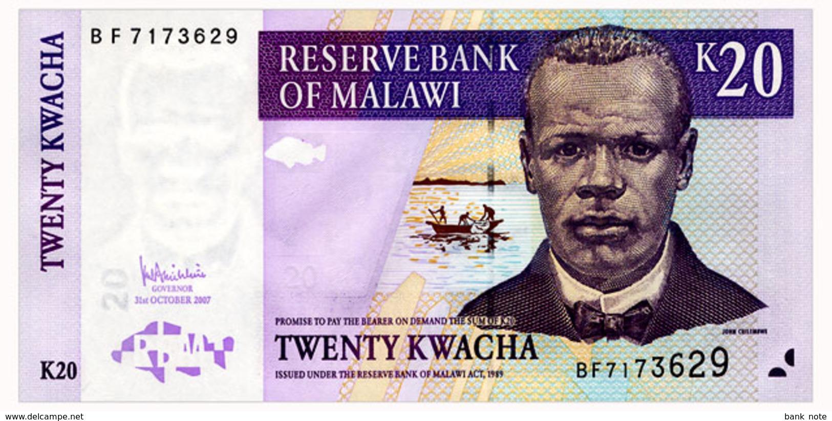 MALAWI 20 KWACHA 2007 Pick 52c Unc - Malawi
