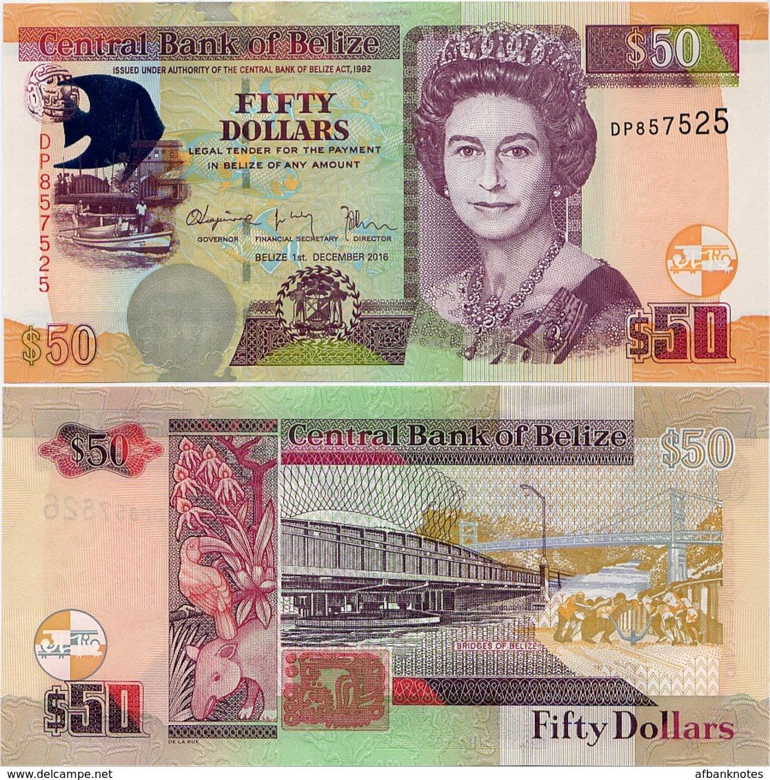 BELIZE       50 Dollars       P-70[f]       1.12.2016       UNC - Belice