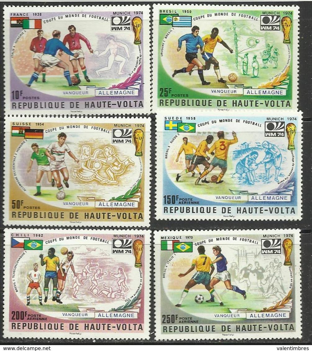 Foot Ball Soccer** MNH Munich 74 Haute Volta 329/31 + PA 180/82 Coupe  Du Monde 1974 - Fußball-Weltmeisterschaft