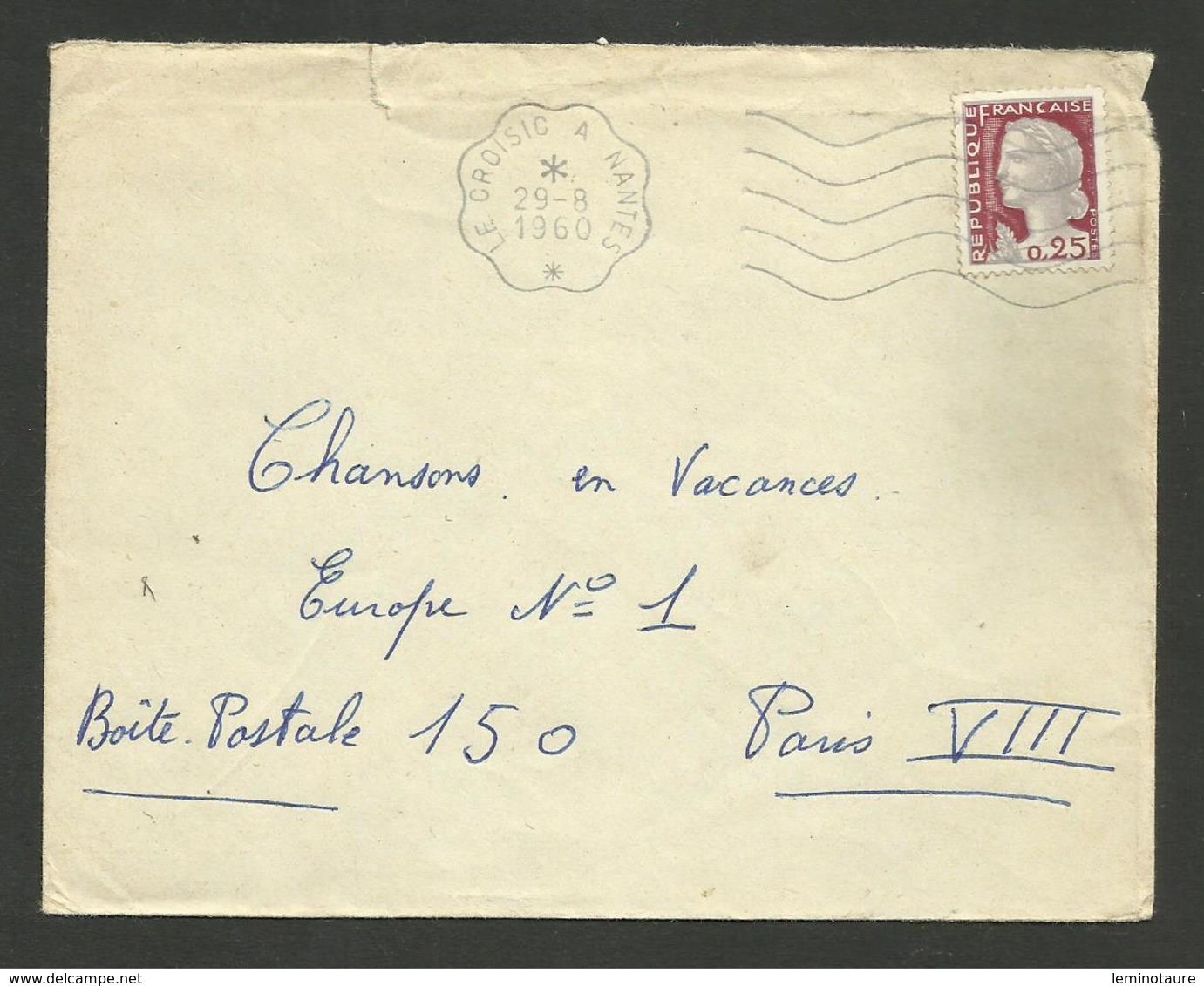 """Flamme Secap """" LE CROISIC A NANTES """" / Marianne Decaris 1960 - Marcophilie (Lettres)"""