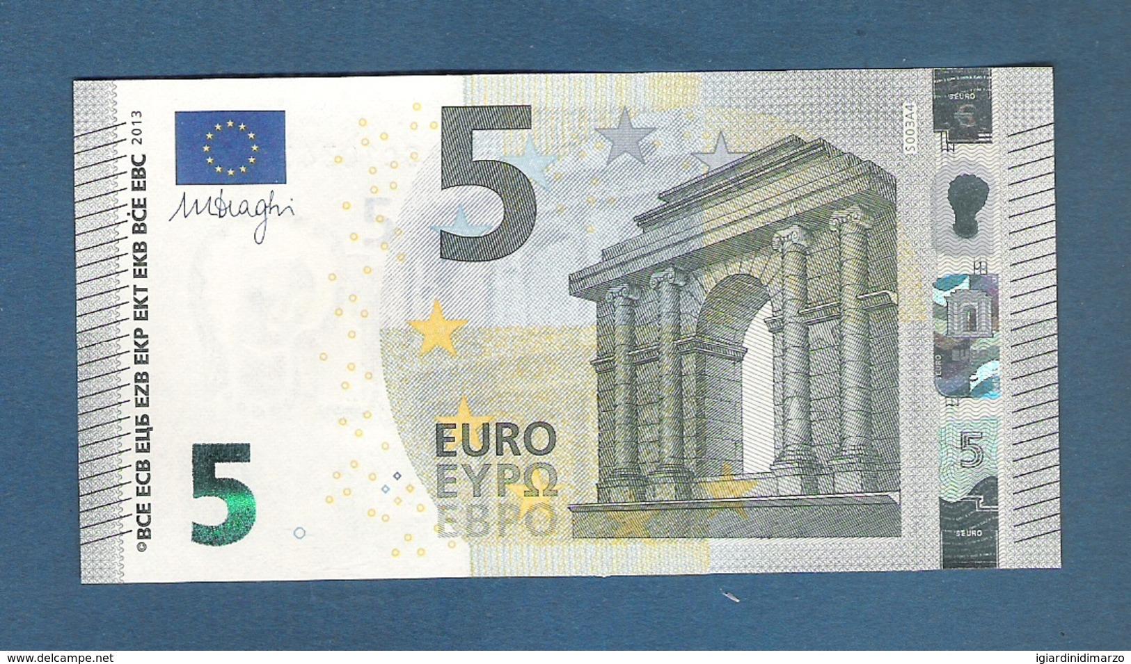 ITALIA - 2013 - BANCONOTA DA 5 EURO FIRMA DRAGHI  SERIE SC (S003A4) - NON CIRCOLATA (FDS-UNC) - OTTIME CONDIZIONI. - 5 Euro