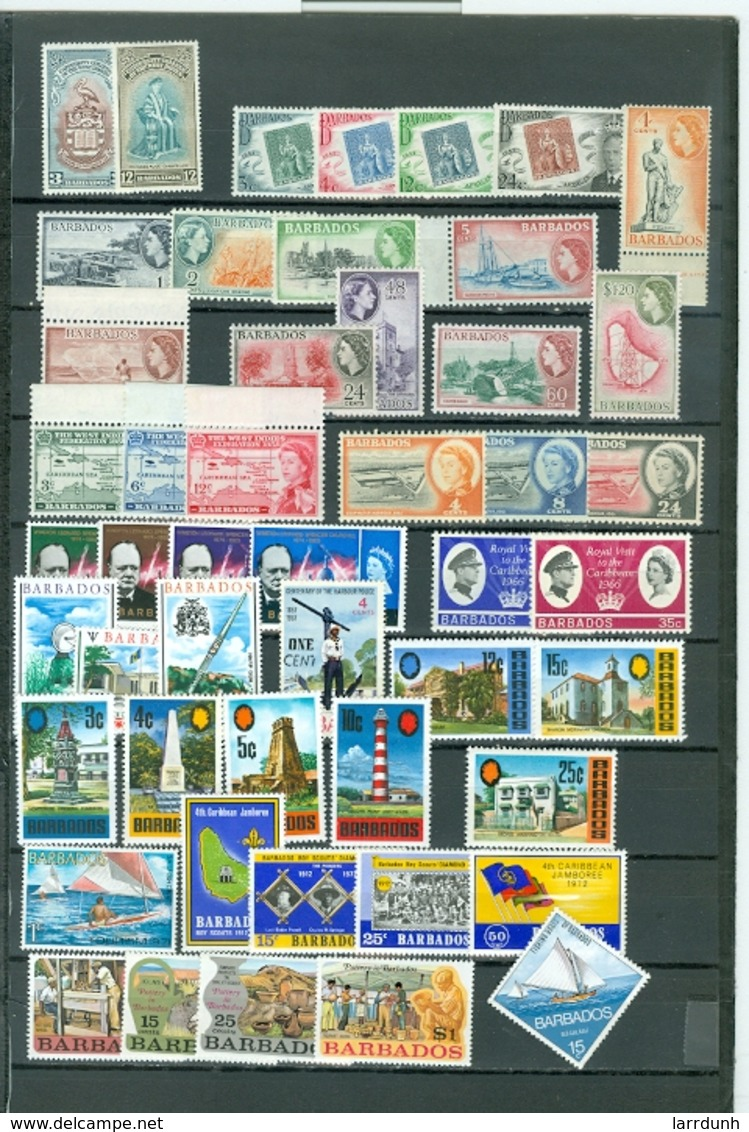 Barbados LOT Of 49 Includes. 8 SETS. Royals Views Churchill Views Ships More MNH Catalogs $75 WYSIWYG A04s - Barbados (1966-...)