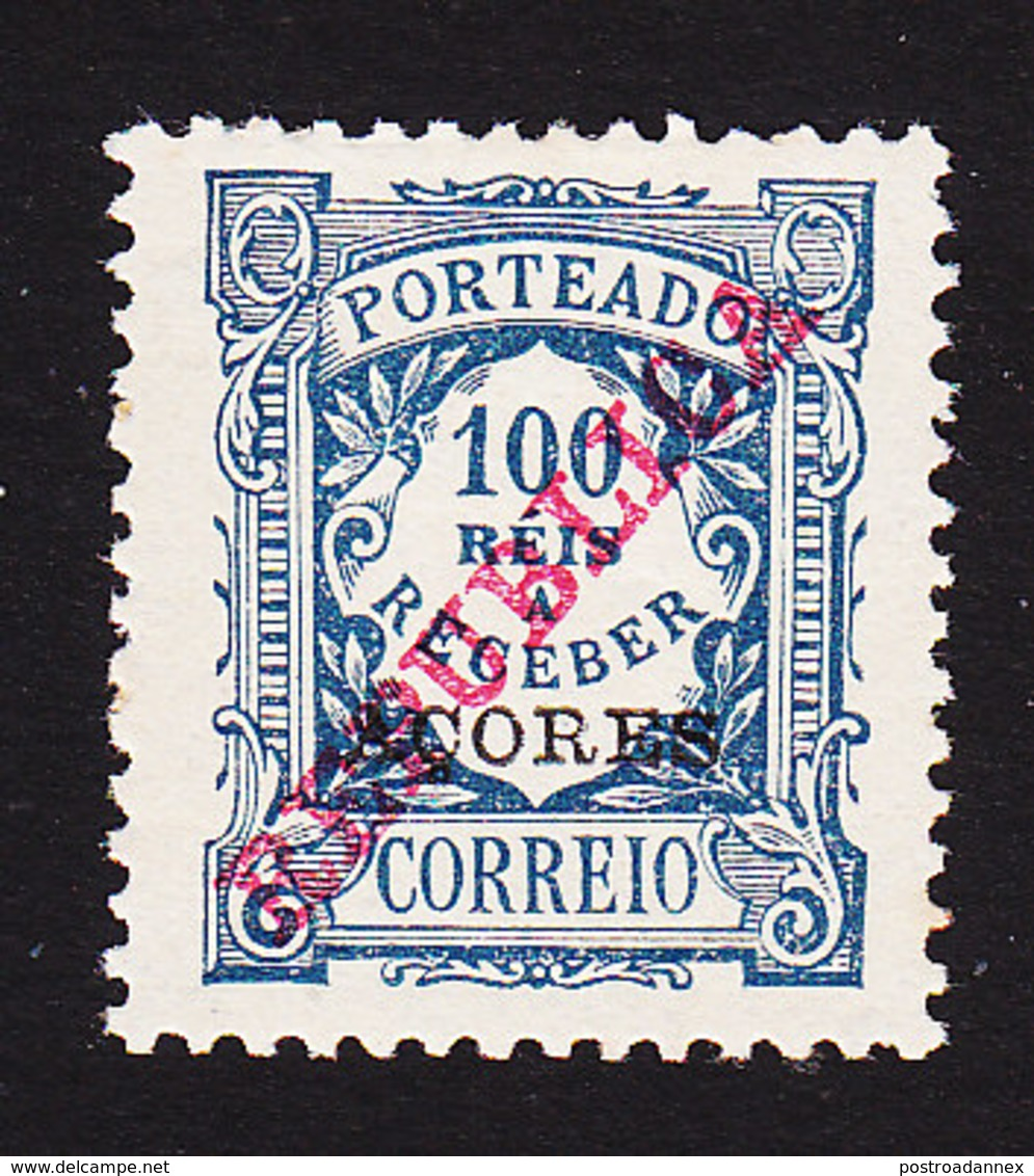 Azores, Scott #J14, Mint Hinged, Postage Due Overprinted, Issued 1911 - Azores