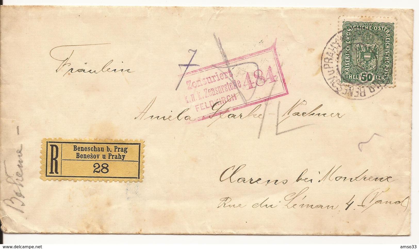 REPUBLIQUE TCHEQUE ENVELOPPE VERS SUISSE CACHET GARE BENESOV-PRAGUE CENSURE AUSTRO-HONGROISE 1918 - Tchécoslovaquie