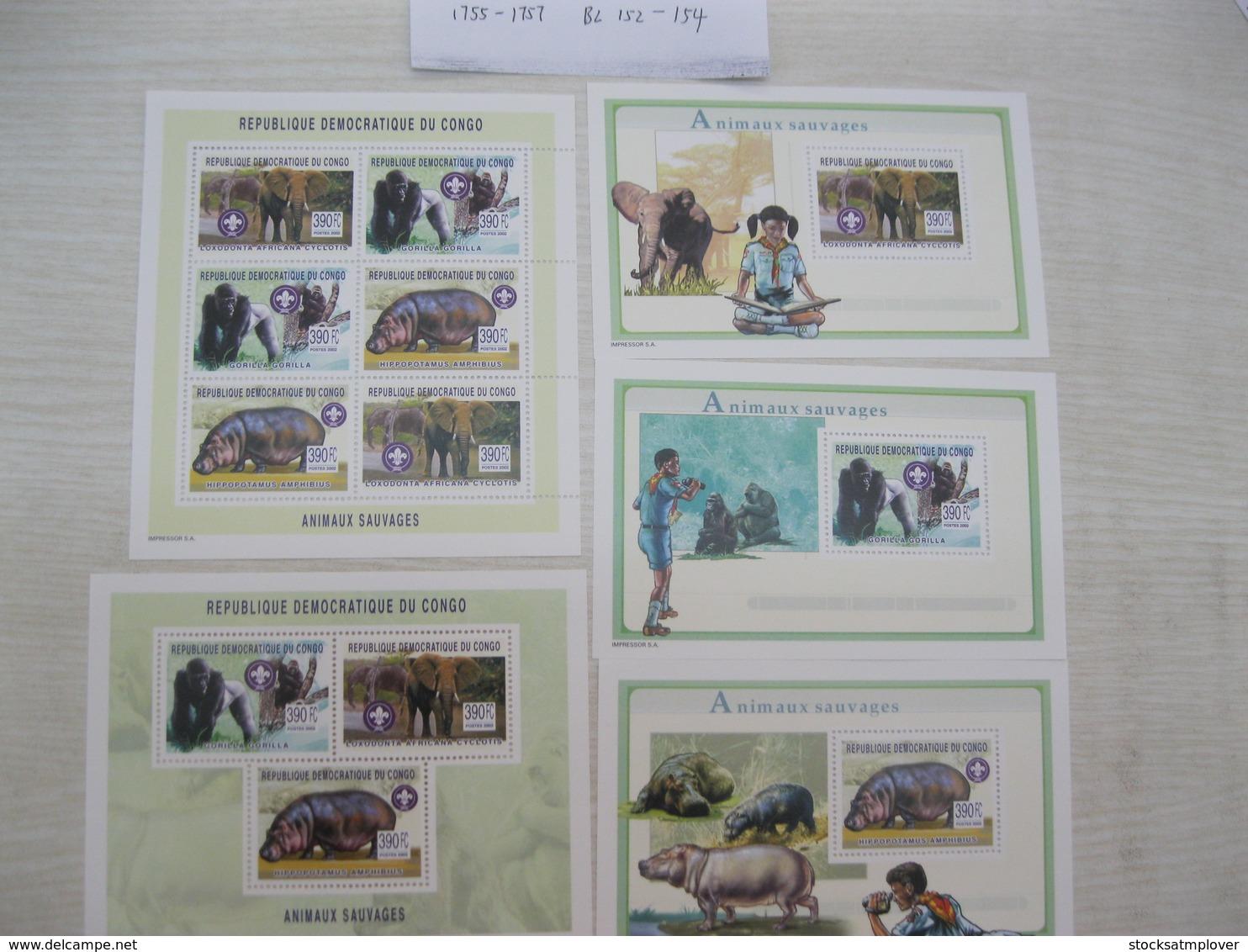 Congo (Kinshasa ) 2002  African Animals Hippos  Elephants  MI 1755-1757  BL152-154 - Democratic Republic Of Congo (1997 - ...)