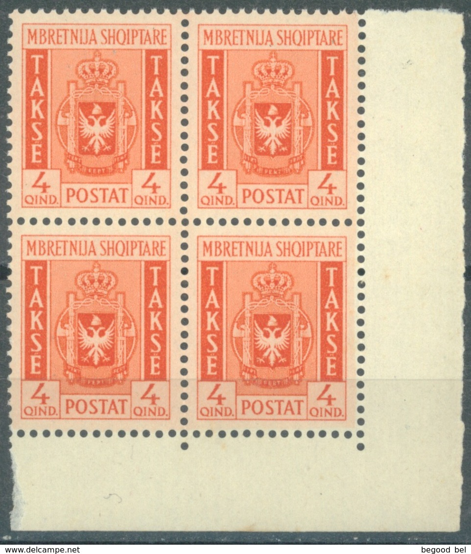 ALBANIE - 1940 - MNH/*** LUXE - TAXE BLOC DE 4  BORD DE FEUILLE - Mi 35 Yv 35 - Lot 16819 - RARE !!! - Albanien