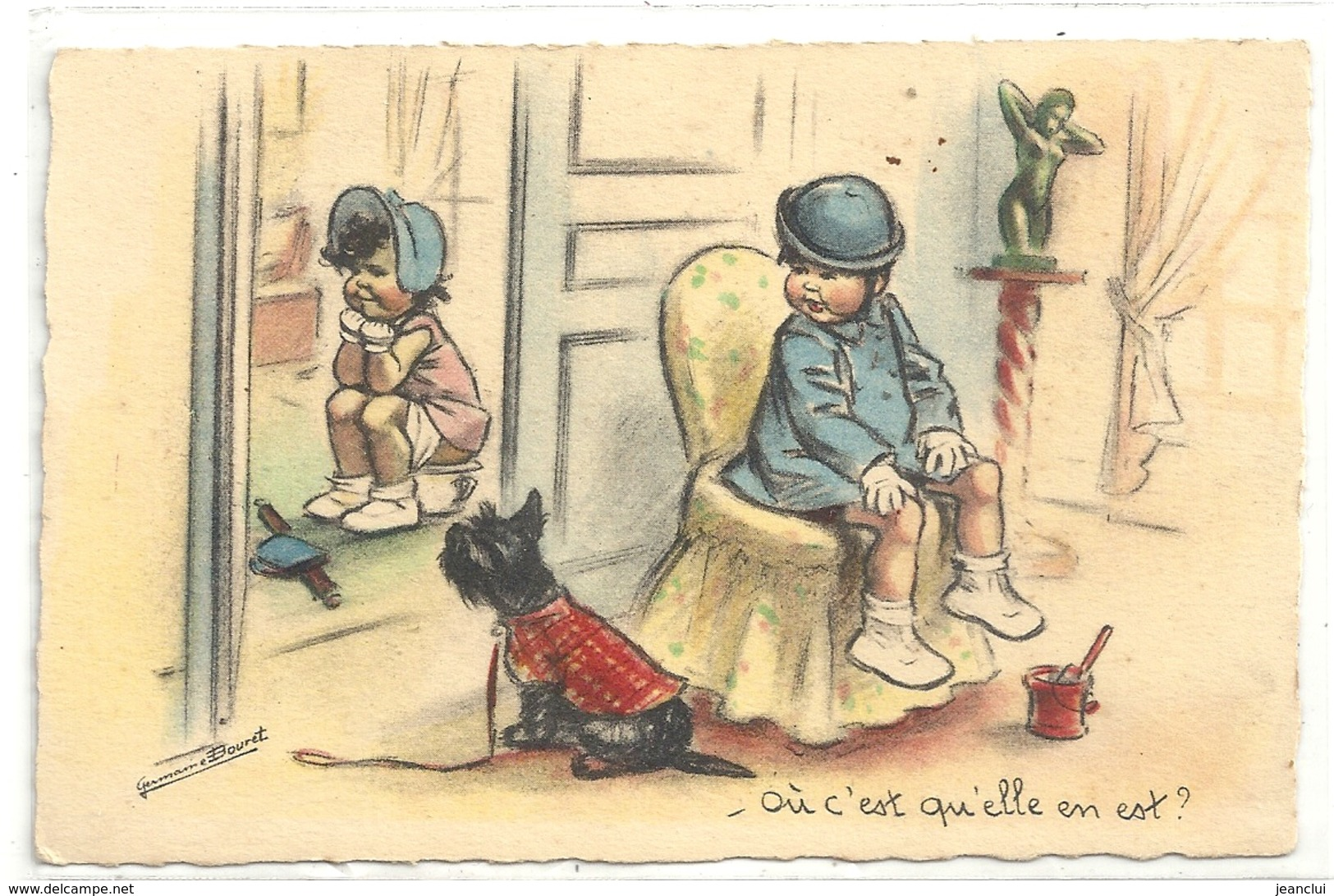 CPA . GERMAINE BOURET . - OU C'EST QU'ELLE EN EST ?      . Edt M.S. PARIS . S/S N° . ECRITE AU VERSO - Bouret, Germaine