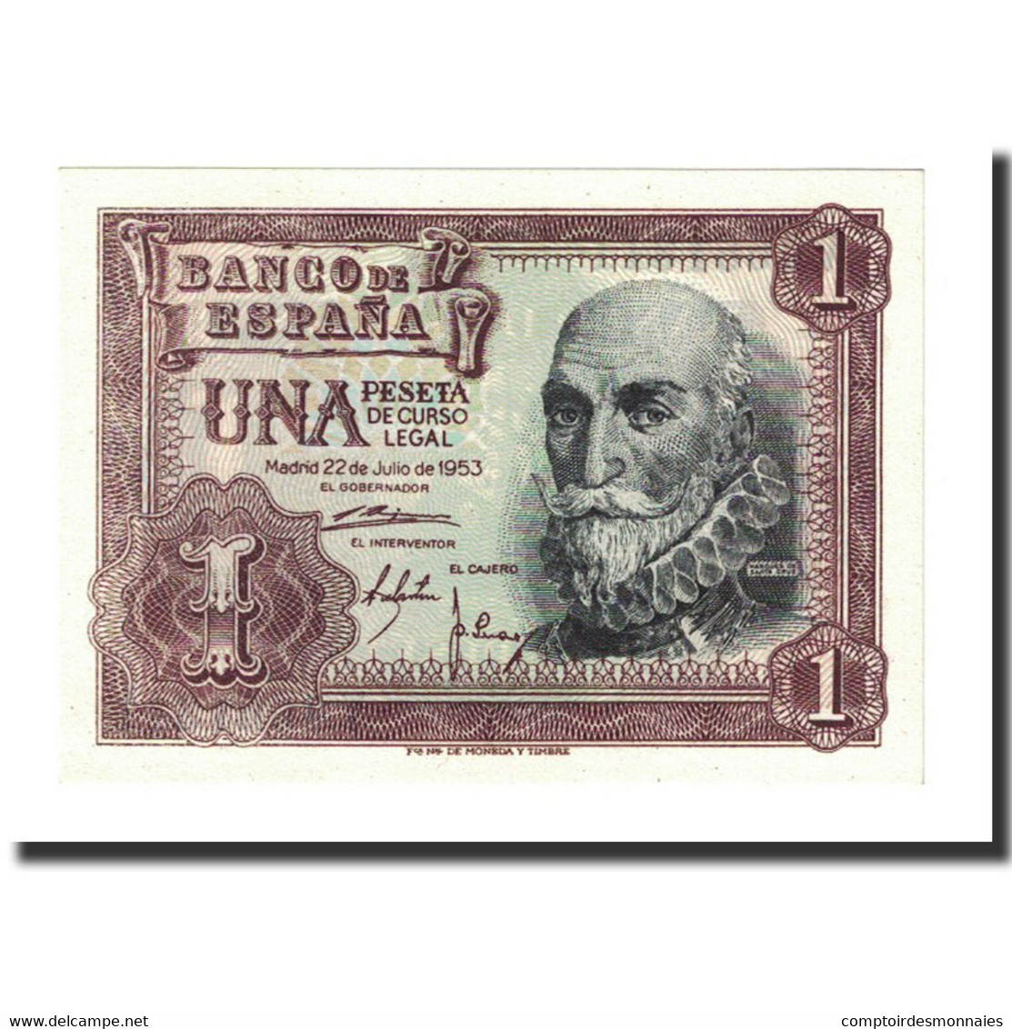 Billet, Espagne, 1 Peseta, 1953-07-22, KM:144a, NEUF - 1-2 Pesetas