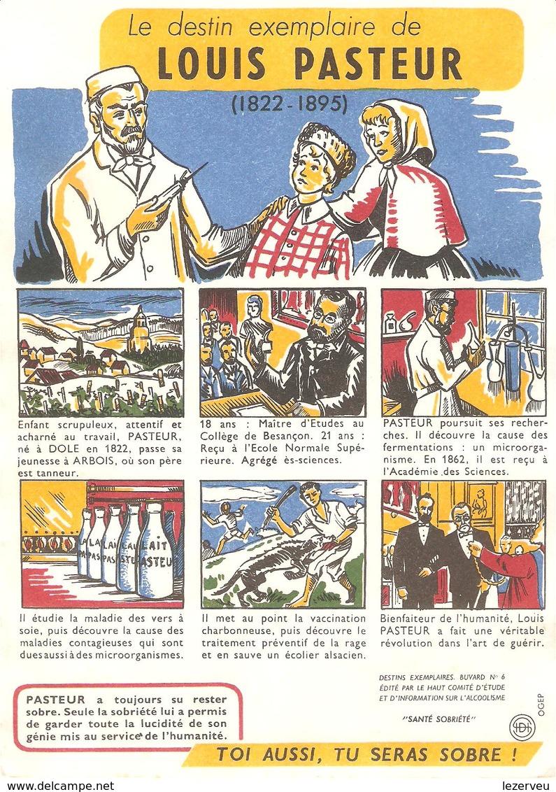 BUVARD SANTE COMITE ETUDE ALCOOLISME SOBRIETE LOUIS PASTEUR - Buvards, Protège-cahiers Illustrés