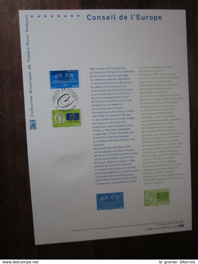 Premier Jour -collection Historique Du Timbre-poste Français - Conseil De L'europe  (2009) - Documents De La Poste