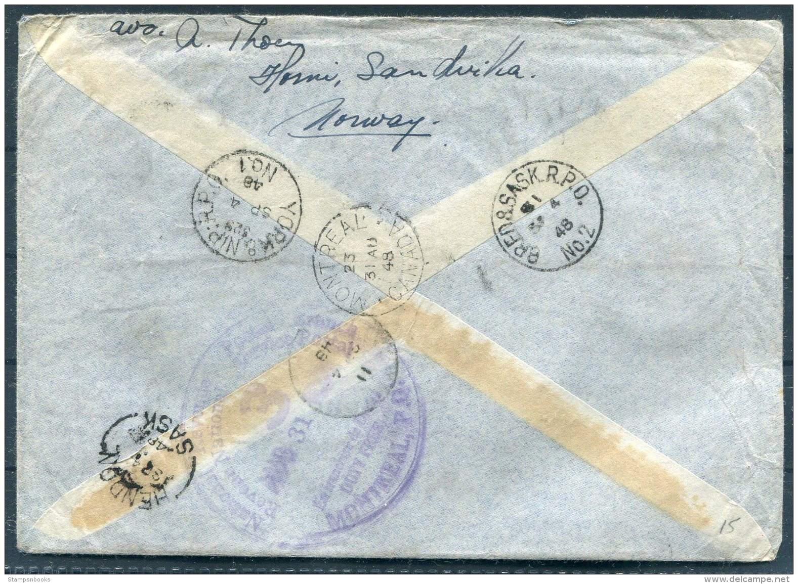 1948 Norway Sandvika Registered Cover - Hendon, Saskatchewan, Via Montreal, Train Railway R.P.O. Canada - Other