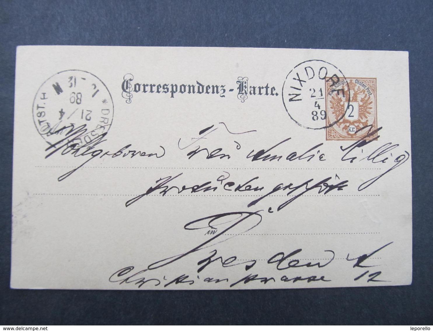 GANZSACHE Nixdorf - Dresden 1889 Korrespondenzkarte  /// D*31813 - 1850-1918 Imperium