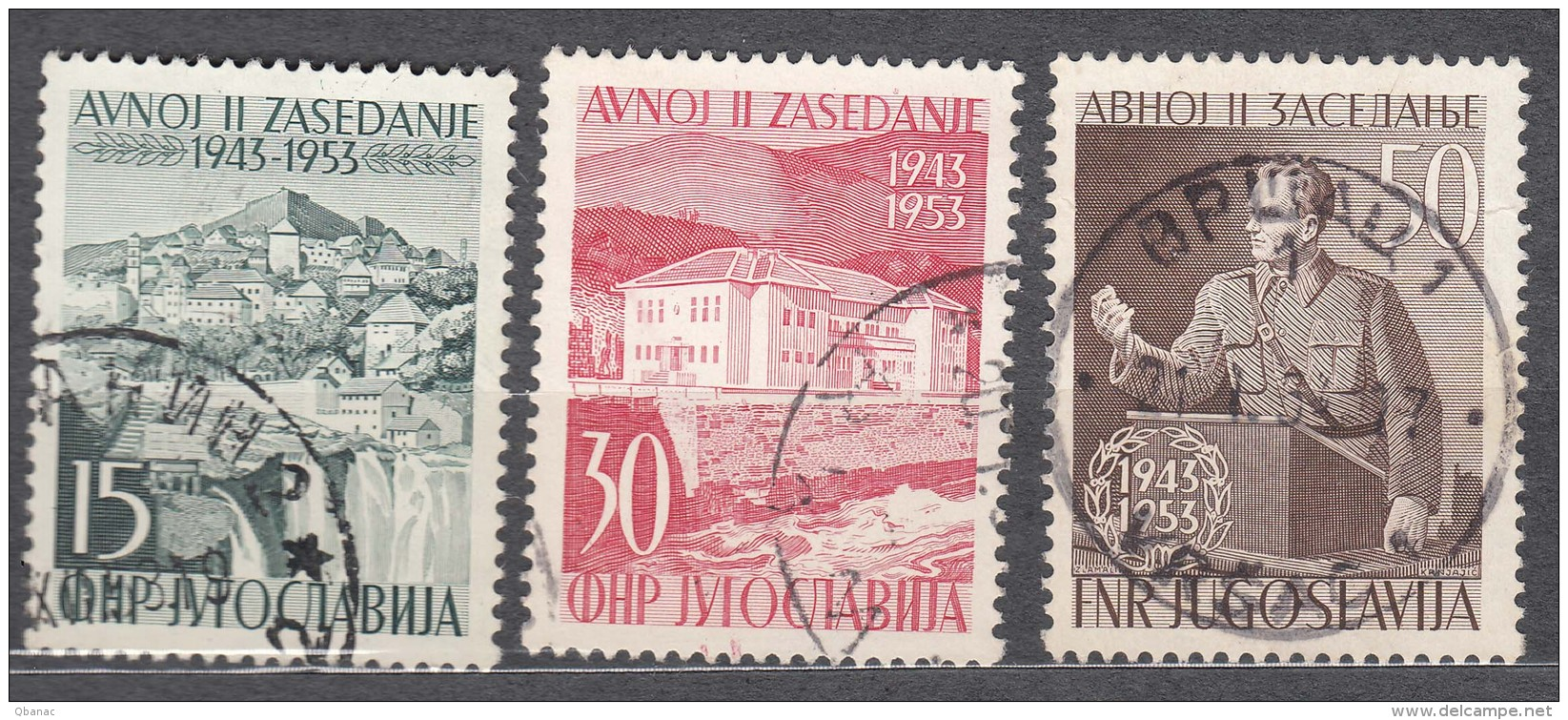 Yugoslavia Republic 1953 Tito Mi#735-737 Used - 1945-1992 Socialistische Federale Republiek Joegoslavië