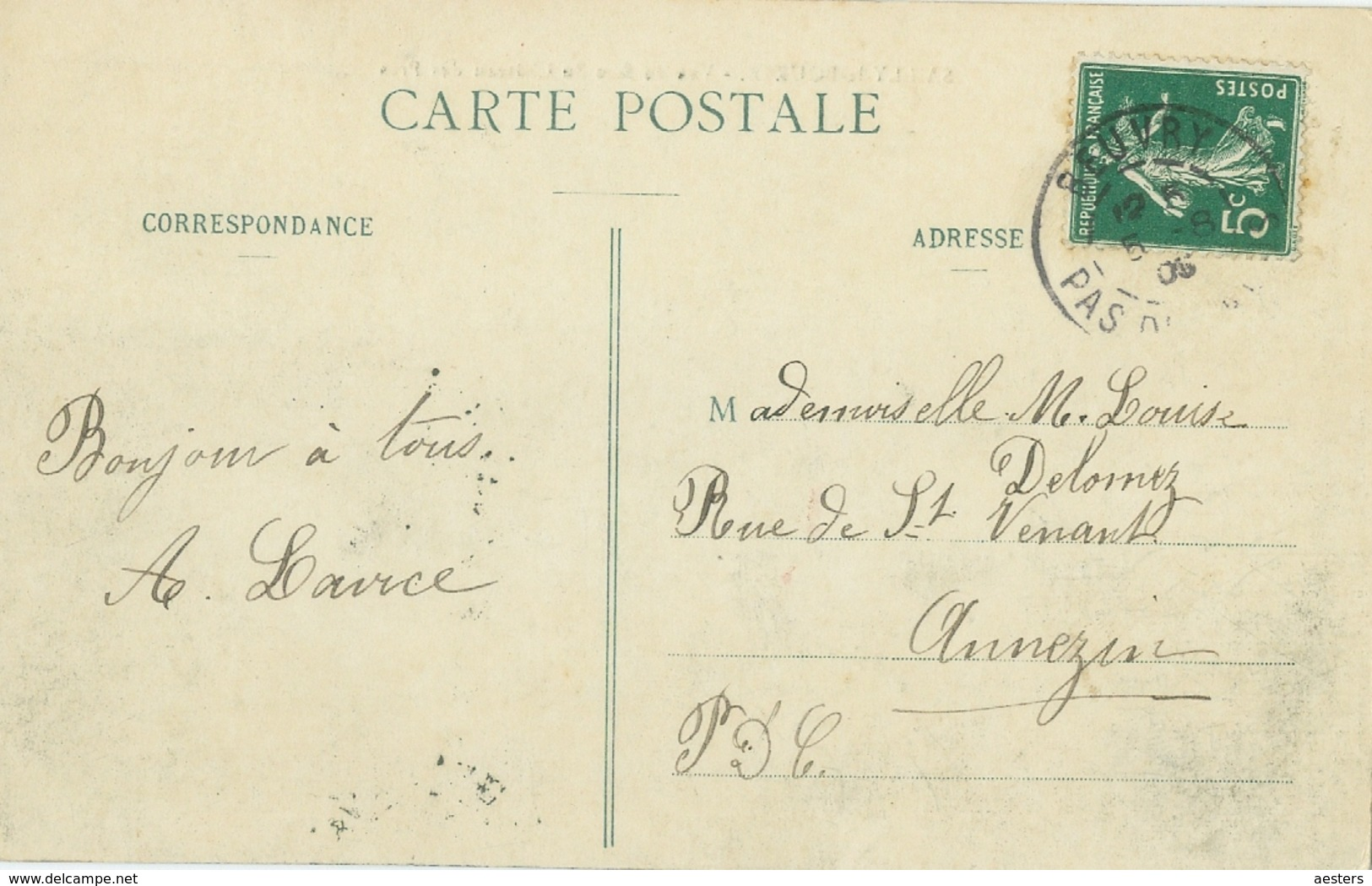 Sailly-la-Bourse 1905; Vue De Face Du Château Des Prés - Voyagé. - Noeux Les Mines