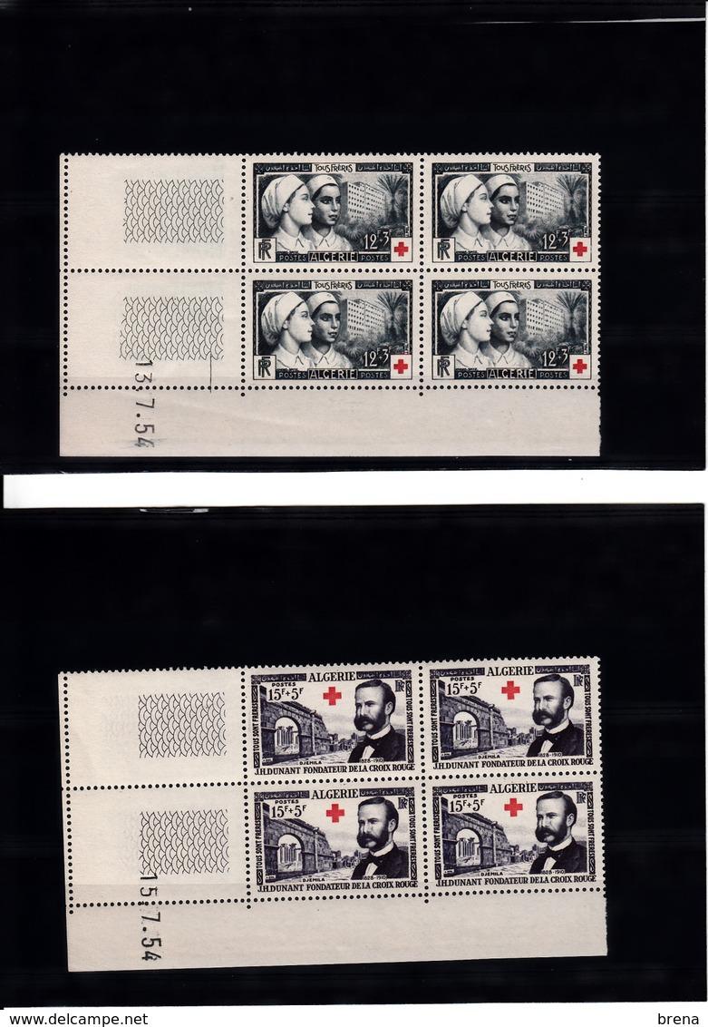 ALGERIE    BLOCS DE 4  N°316/317 NEUFS  XX CROIX ROUGE   15.7.1954 - Argelia (1924-1962)