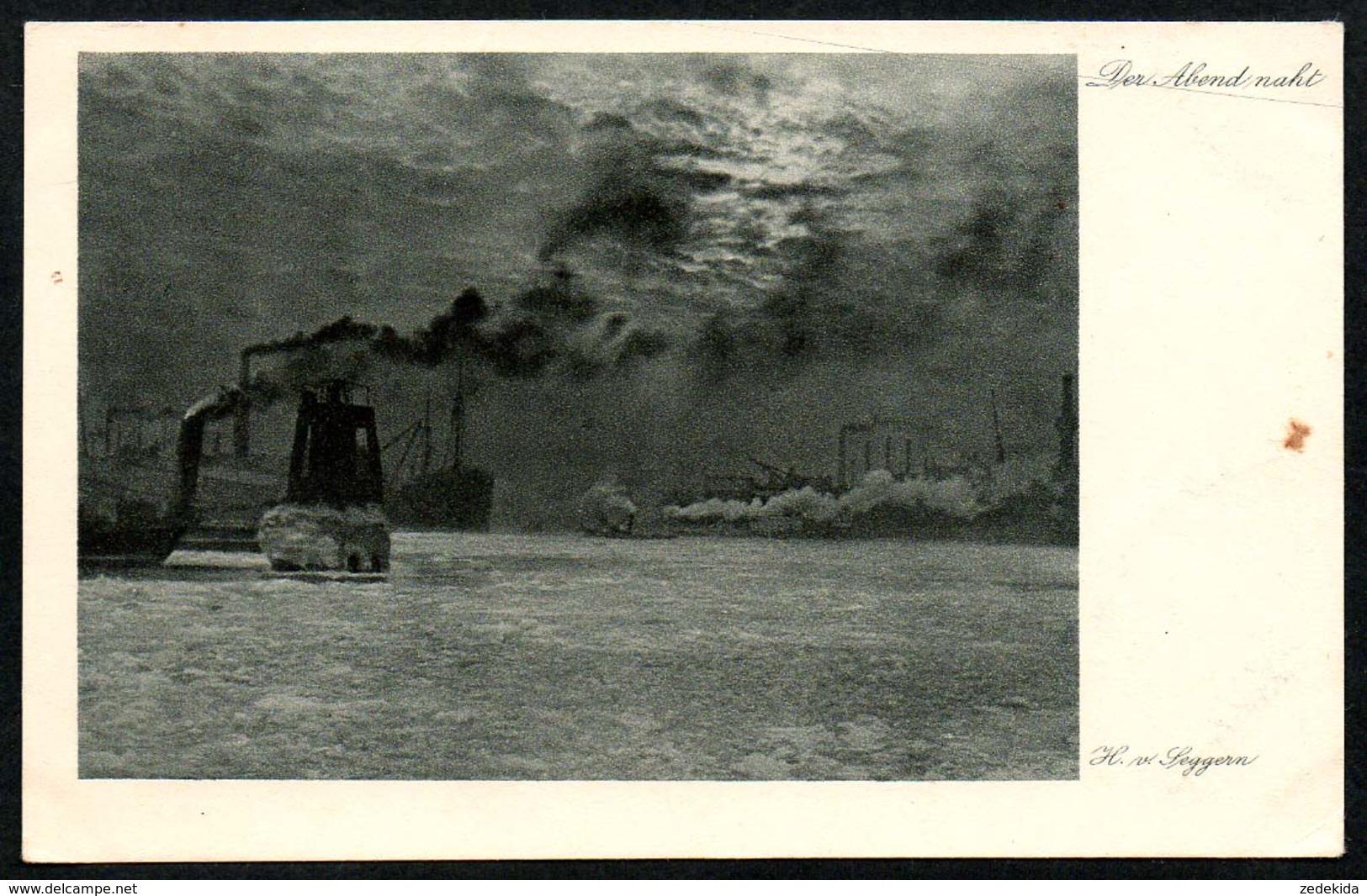 B4168 - H. Von Seggern - Künstlerkarte - Der Abend Naht - Trautmann & Von Seggern Hamburg - Dampfer - Künstlerkarten