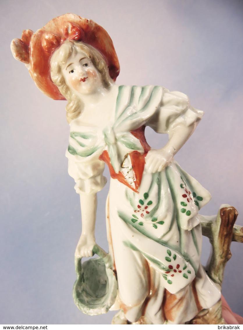 ~ STATUETTE FEMME AU PANIER EN FAÏENCE - Statue Sculpture - Sculptures