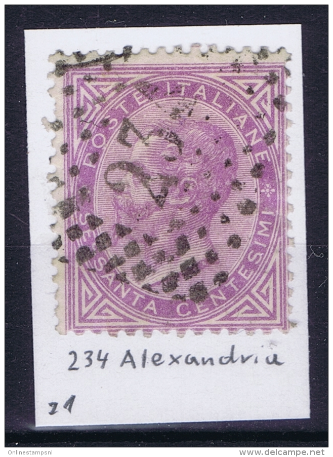 Italy Sa 21 With Cancel 234 Alexandria Alessandria - 1861-78 Vittorio Emanuele II
