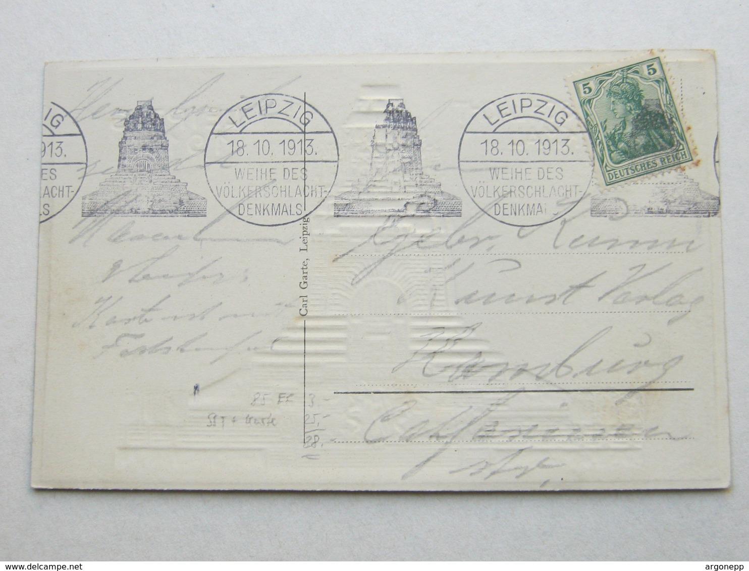 1913 , LEIPZIG - Völkerschlacht , Klarer Stempel  Maschinenstempel Auf Karte - Duitsland