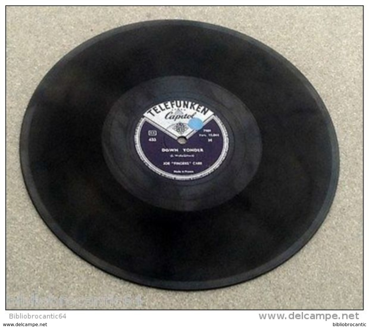 "78 Tours *JOE ""FINGERS"" CARR* < DOWN YONGER /SNOW DEER RAG < TELEFUNKEN CAPITOL 433 - 78 Rpm - Schellackplatten"
