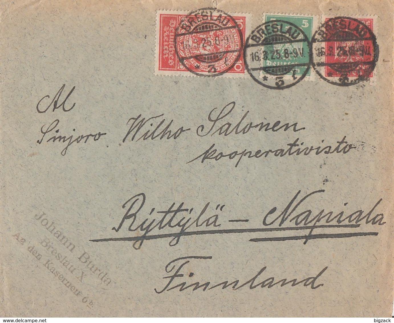 DR Brief Mif Minr.352,356,357 Breslau 16.3.25 Gel. Nach Finnland - Deutschland