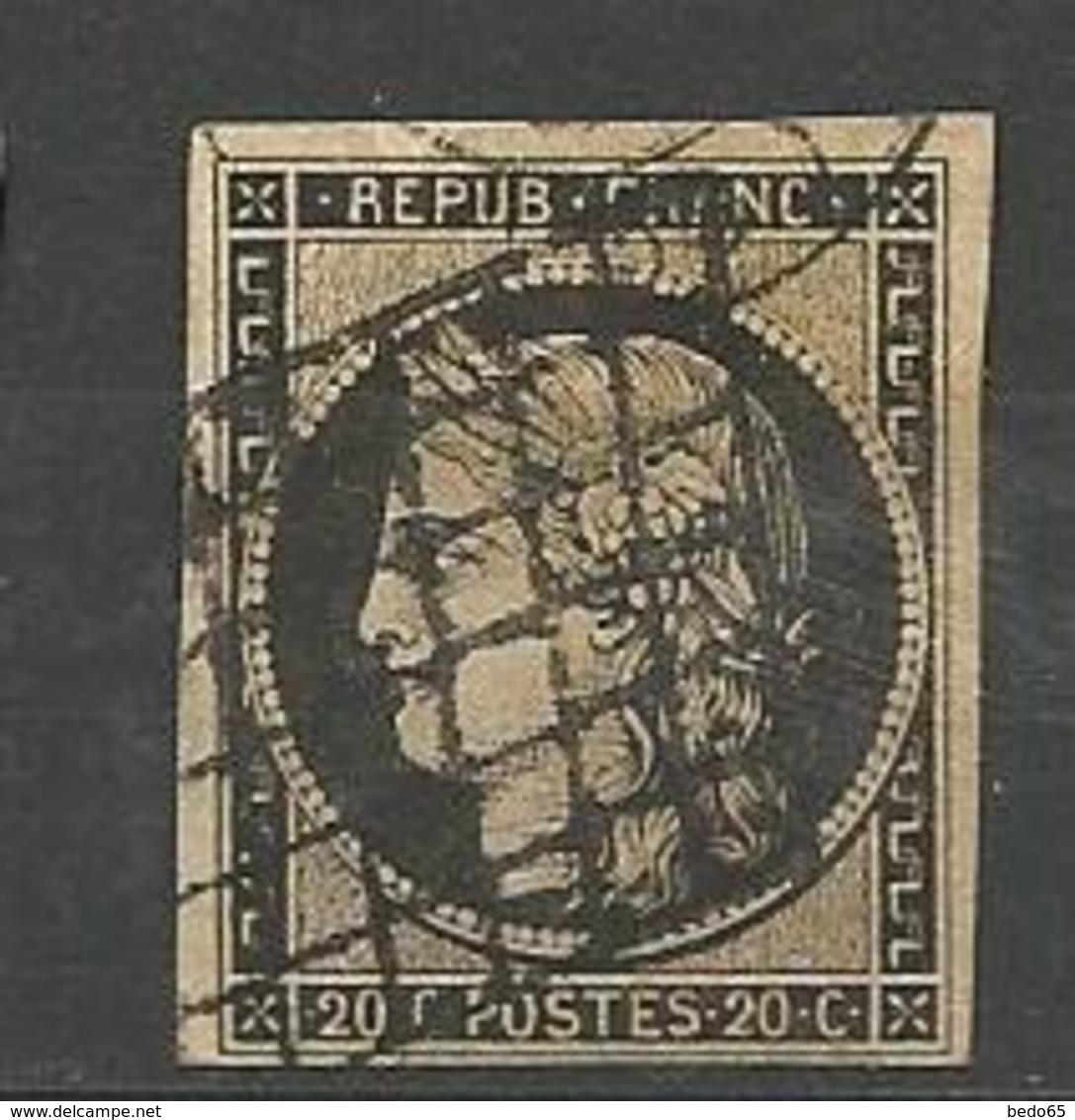 CERES N° 3 NOIR SUR Jaune OBL B - 1849-1850 Cérès