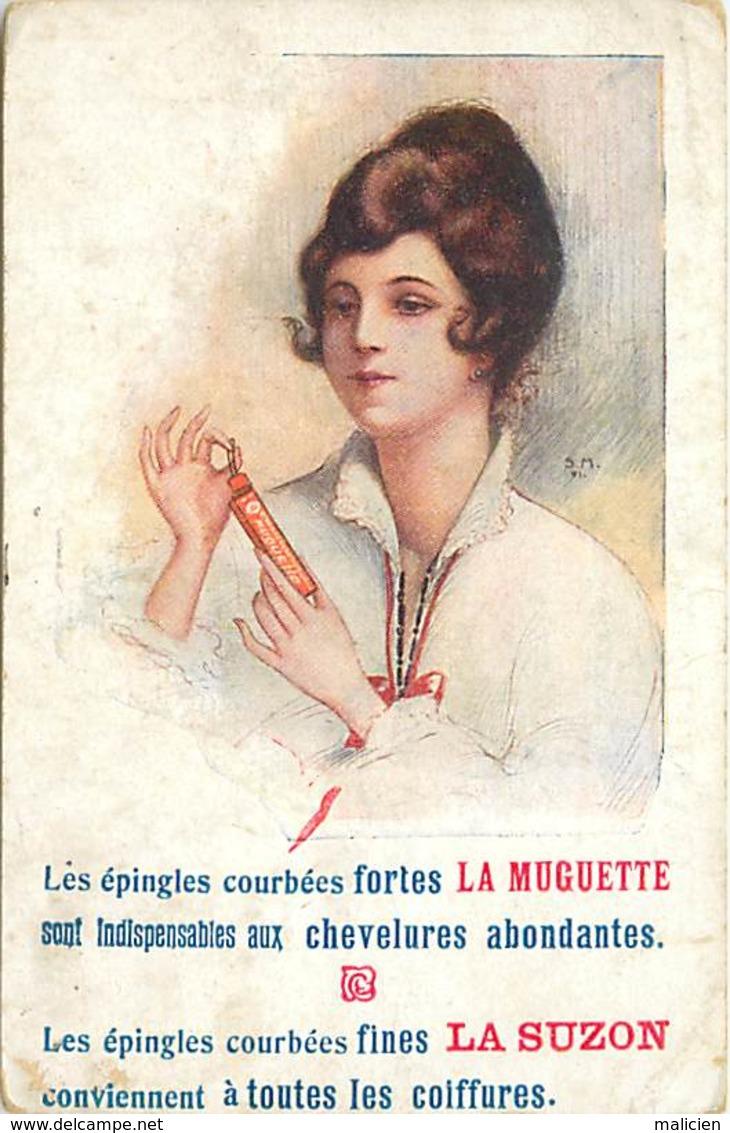 - Thèmes -ref-A502- Publicite Epingles La Muguette Et La Suzon - Couture - Metiers - Illustarteur S.m.- Illustateurs - - Publicité