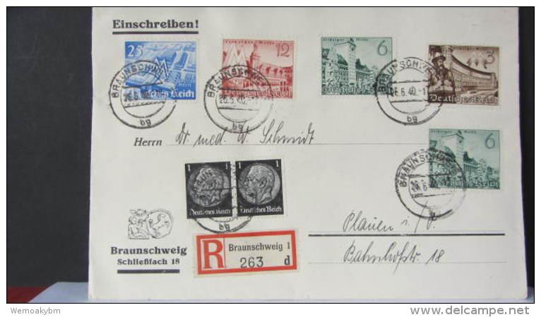 DR 33-45: R-Fern-Doppel-Brief Mit Kompl. Satz Leipziger FM Aus Braunschweig (263) V. 26.6.40 -portogenau- Knr: 739/2 Ua - Deutschland