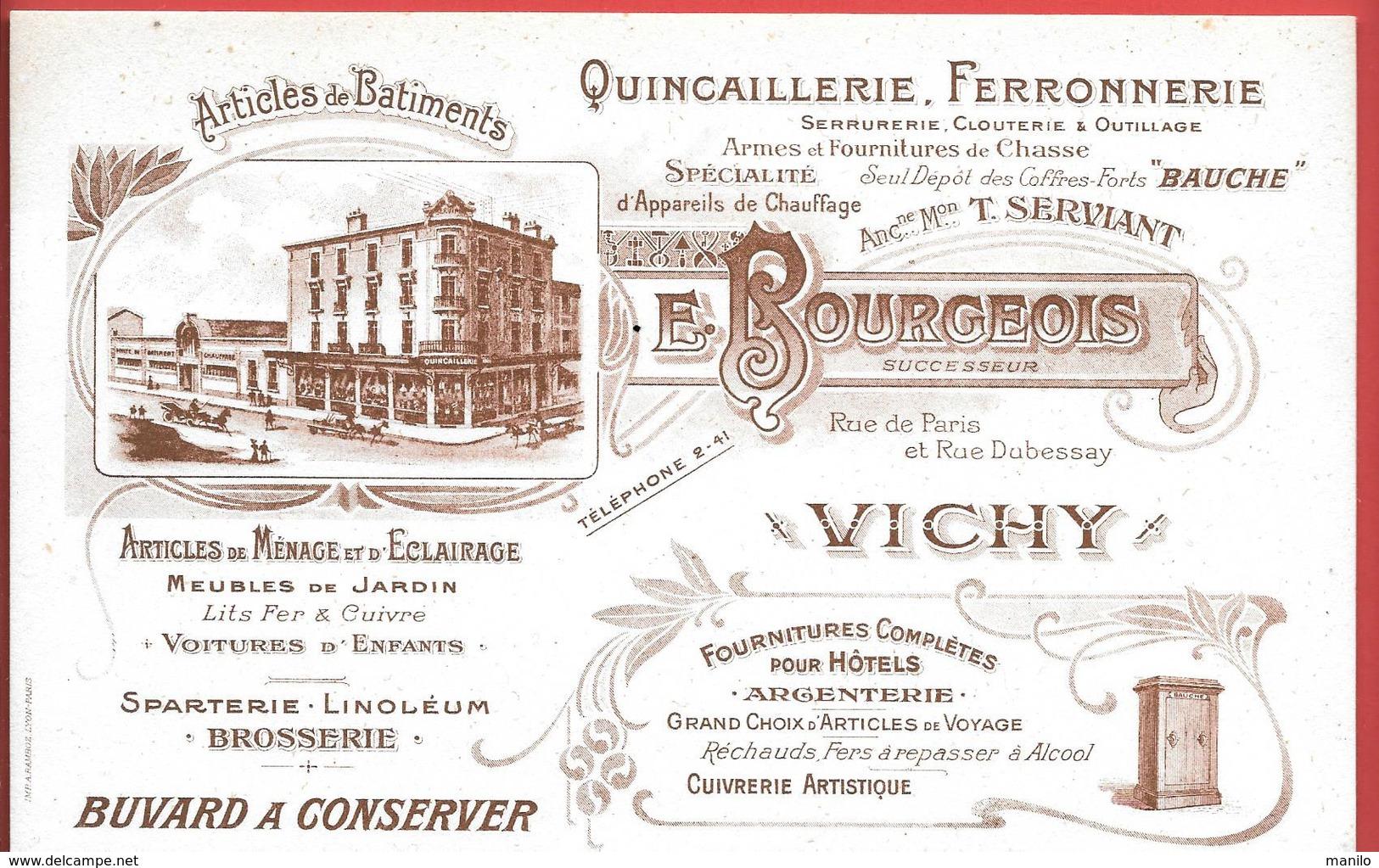Buvard Années 1900 - E.BOURGEOIS à VICHY - Anc.T. SERVIANT - QUINCAILLERIE, ARMES,FOURNITURES DE CHASSE -coffres BAUCHE - Buvards, Protège-cahiers Illustrés