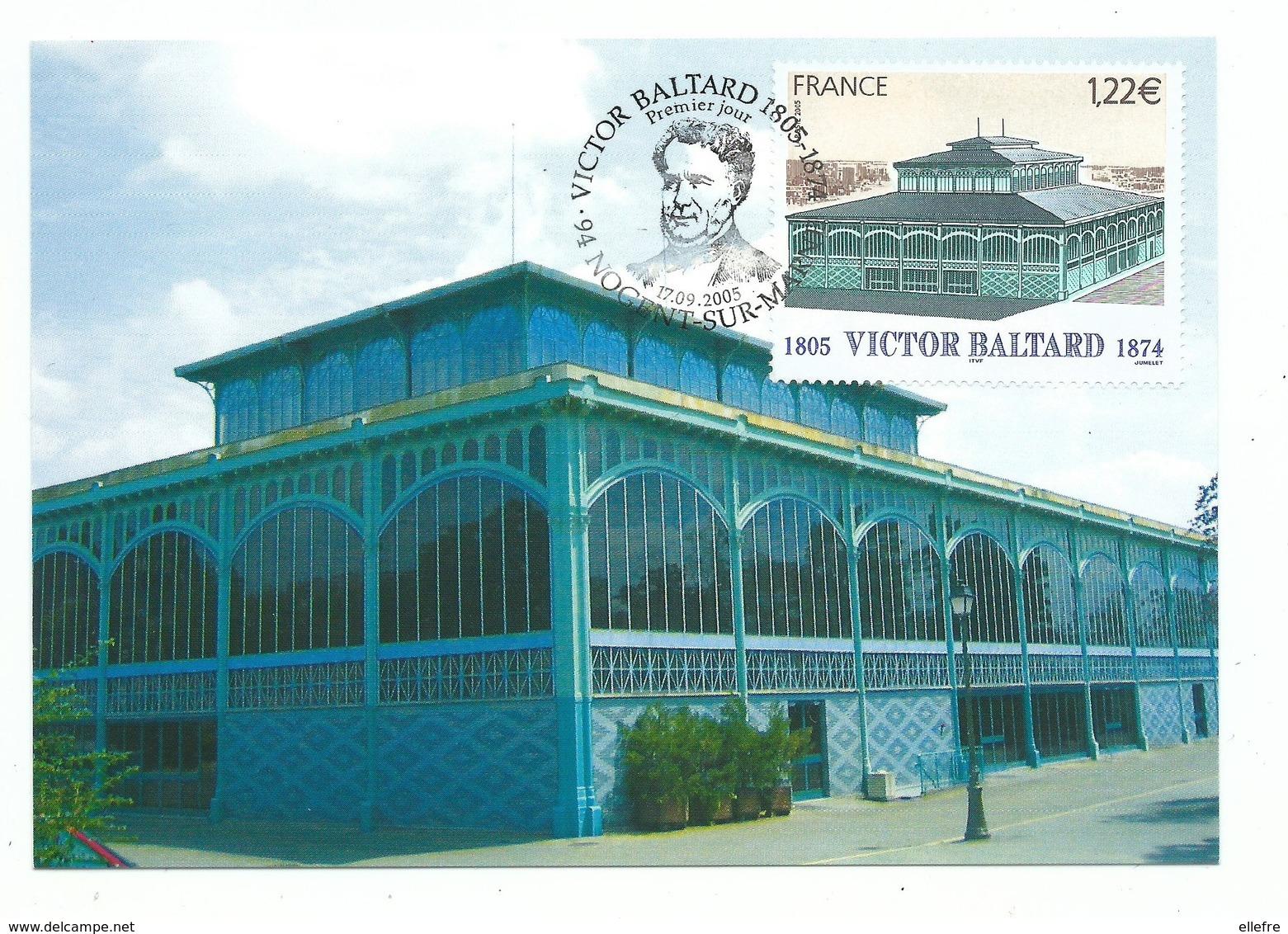Carte Maximum Victor Baltard - 1er Jour 17/09/2005  - Pavillon Baltard Nogent Sur Marne - Cartes-Maximum