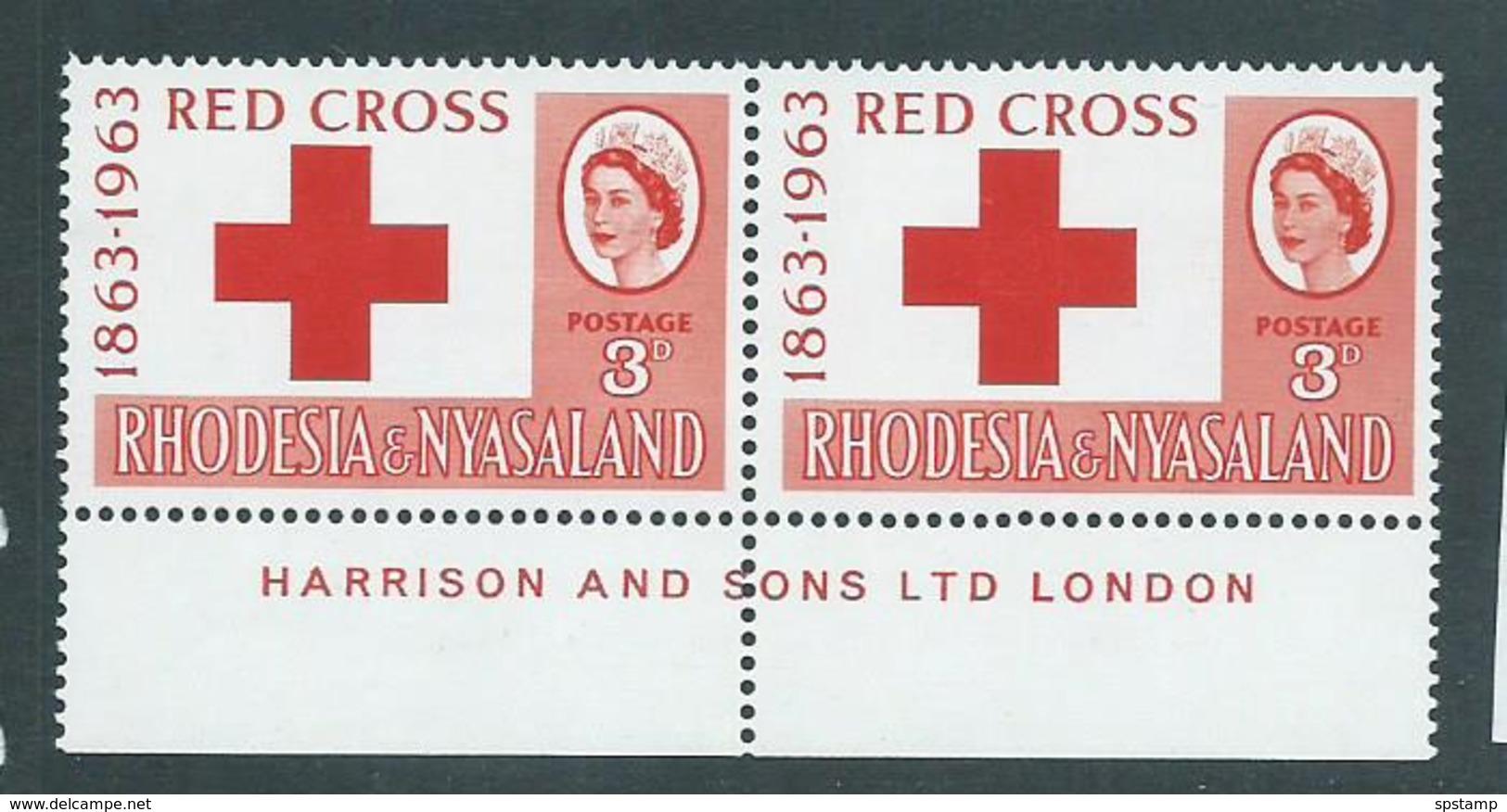 Rhodesia & Nyasaland 1963 Red Cross 3d Harrison Imprint Pair MNH - Rodesia & Nyasaland (1954-1963)