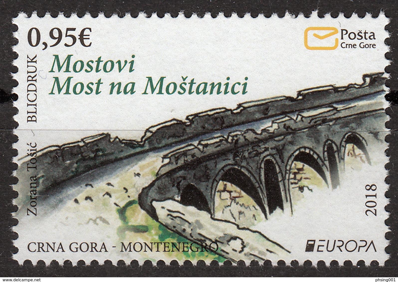 Montenegro 2018 Europa CEPT, Bridges Bruecken Ponts Architecture MNH - 2018