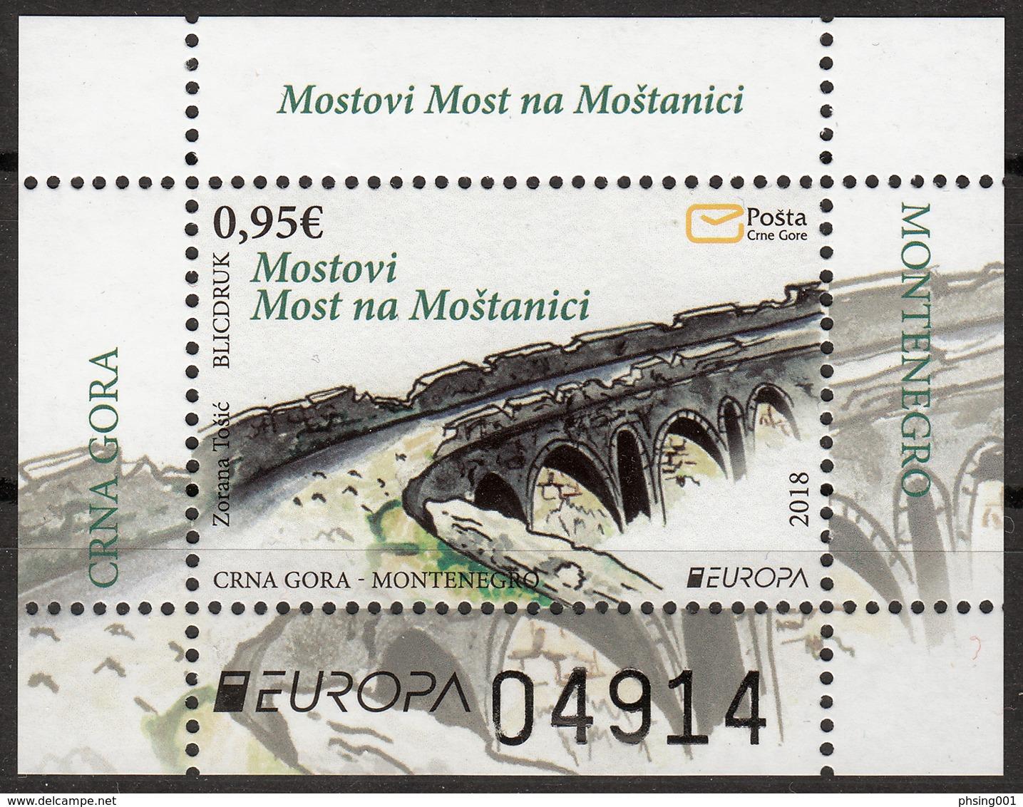 Montenegro 2018 Europa CEPT, Bridges Bruecken Ponts Architecture Block, Souvenir Sheet MNH - 2018