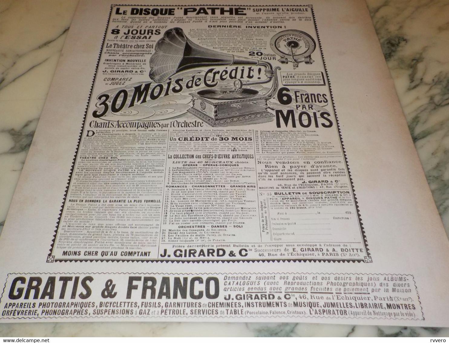 ANCIENNE PUBLICITE GRAND PHONOGRAPHE DE PATHE 1908 - Plakate & Poster