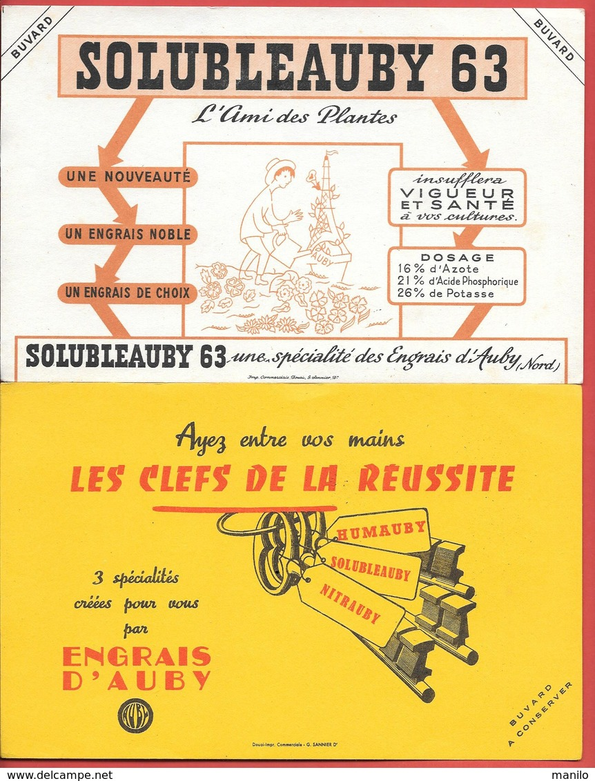 2 Buvards Anciens  ENGRAIS D'AUBY (Nord) SOLUBLEAUBY 63 (jardinier) CLEFS DE LA REUSSITE (trousseau) HUMAUBY NITRAUBY SO - Agriculture