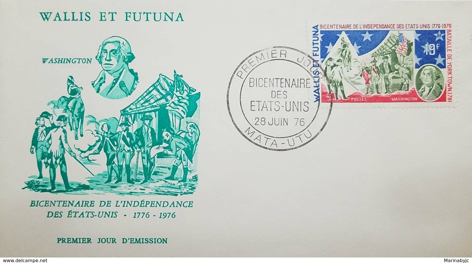 L) 1976 WALLIS AND FUTUNA, WASHINGTON, BICENTENARY OF THE INDEPENDENCE OF THE UNITED STATES, BATTLE OF YORKTOWN, FDC - FDC