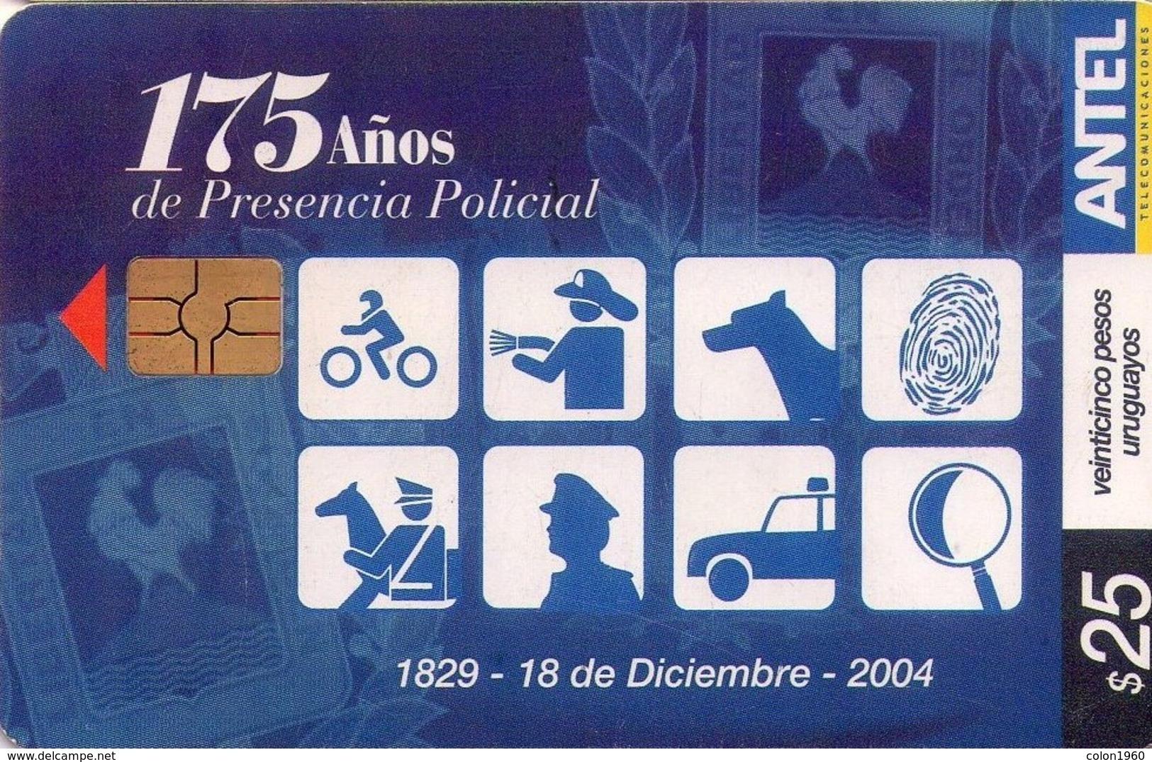 TARJETA TELEFONICA DE URUGUAY, 175 AÑOS PRESENCIA POLICIAL. 371a (001) - Uruguay