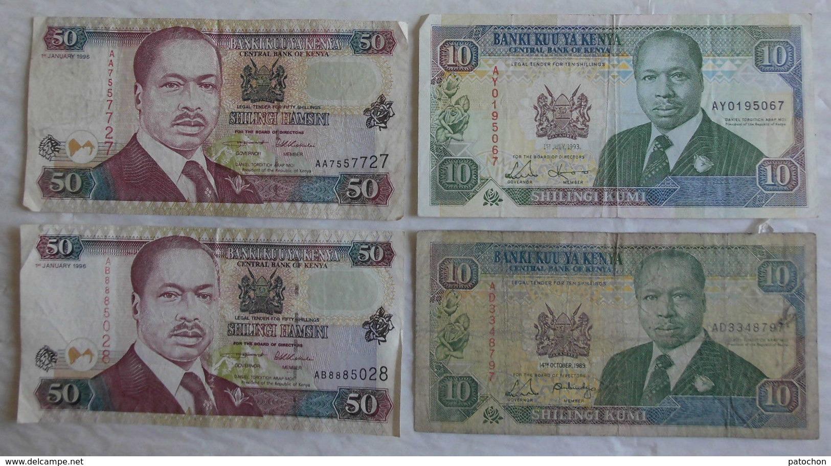 4 Billet De Banque Du Kenia 10 & 50 Shilingi. - Kenya
