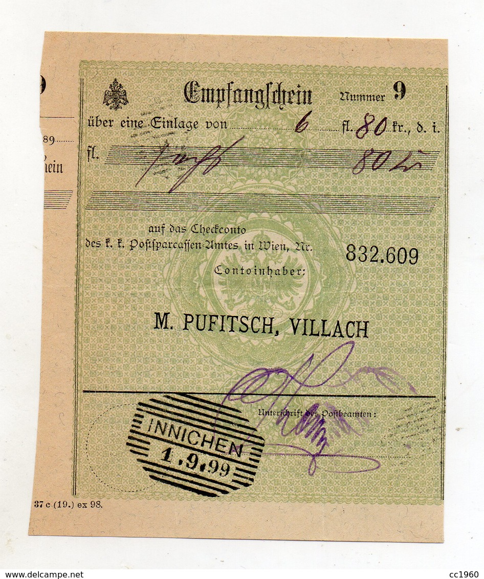 """Austria - Villach - Fattura Della Ditta """" M. Pufitsch """"  Con Ricevuta Di Impostazione Datata  19/7/1899 - (FDC9977) - Austria"""