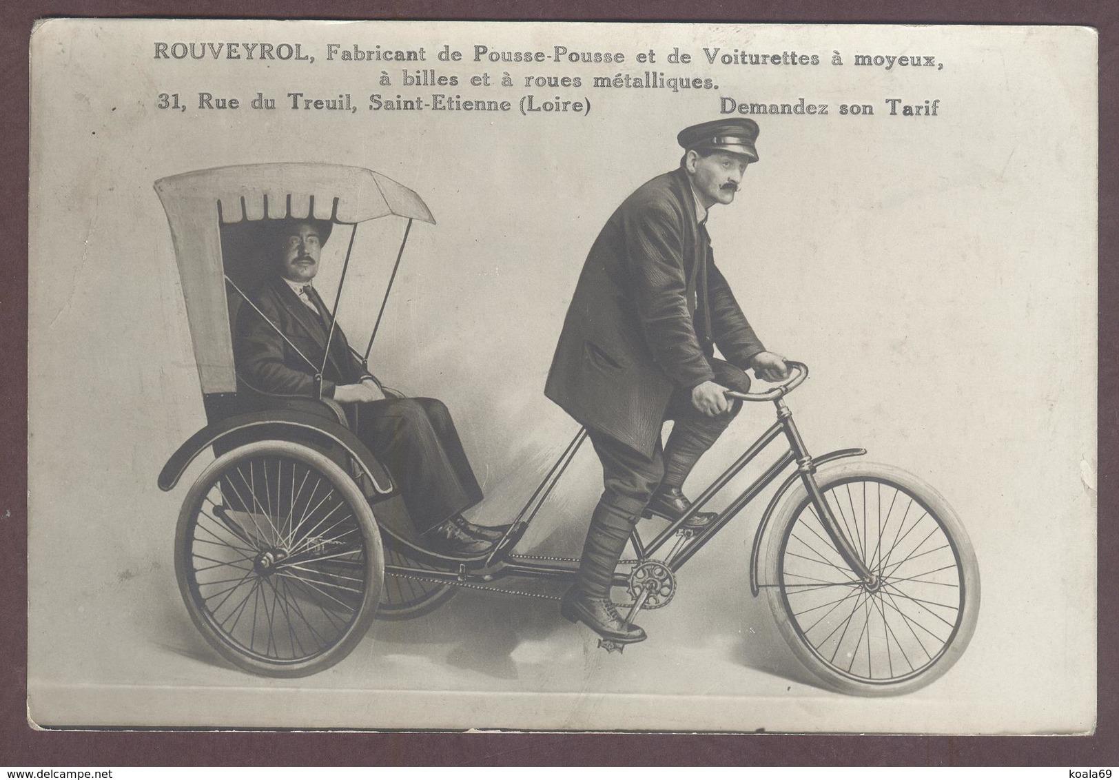 Carton Publicitaire Rouveyrol Fabricant De Pousse-pousse Voiturettes à Moyeux Tricycle * Vélo à 3 Roues  à St Etienne - Saint Etienne