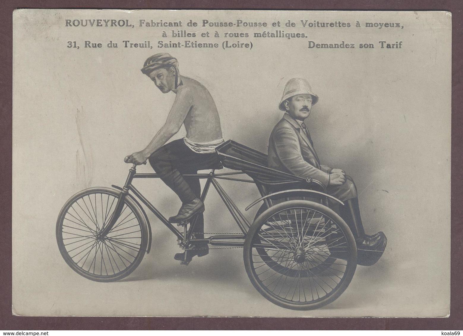 Carton Publicitaire Rouveyrol Fabricant De Pousse-pousse Voiturettes à Moyeux Tricycle   Pousse Pousse St Etienne  Loire - Saint Etienne