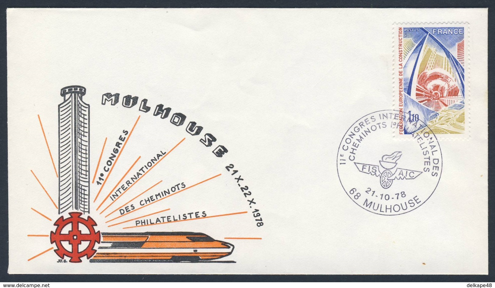 France Rep. Française 1978 Cover / Brief / Enveloppe - 11e Congres Int. Cheminots Philatelistes, Mulhouse - FISAIC - Treinen