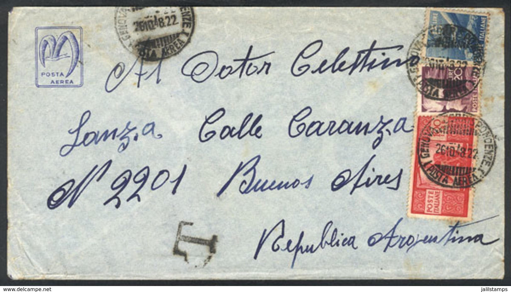 """1478 ITALY: 26/OC/1948 Genova - Buenos Aires: Airmail Cover Franked With 135L., With """"""""T"""""""" Due Mark And Arrival Backstam - Italy"""
