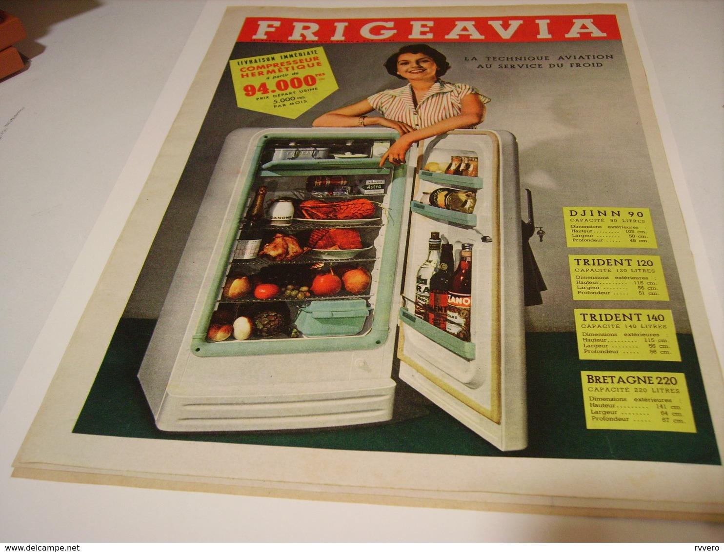 ANCIENNE AFFICHE PUBLICITE FRIGO FRIGEAVIA 1955 - Pubblicitari