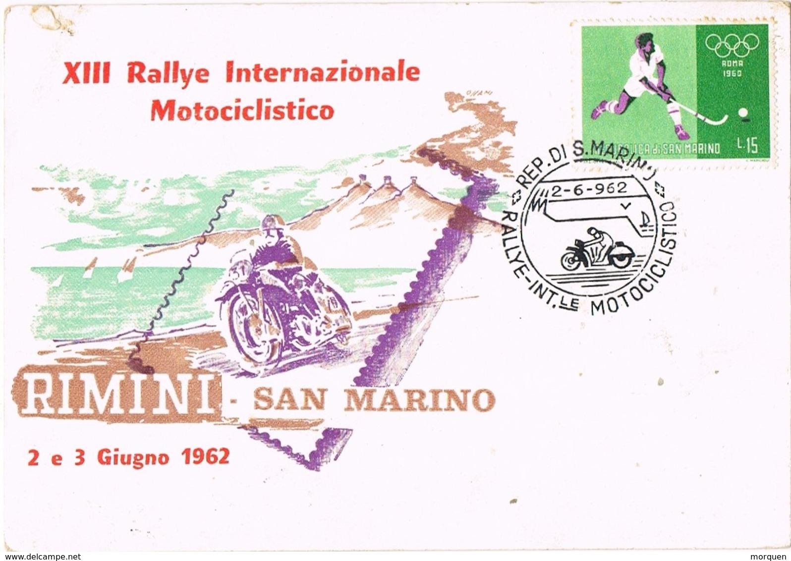 28793. Tarjeta SAN MARINO 1962. RALLYE Moto Rimini-San Marino. Motociclismo - San Marino