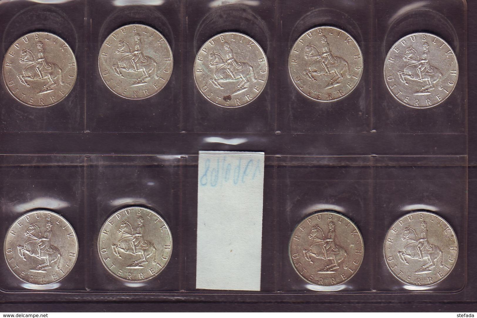 Österreich AUSTRIA AUTRISCHE LOTTO  5 SCELLINI ARGENTO  Dal 1960 Al 1968 Lotto Di Nove Monete - Austria
