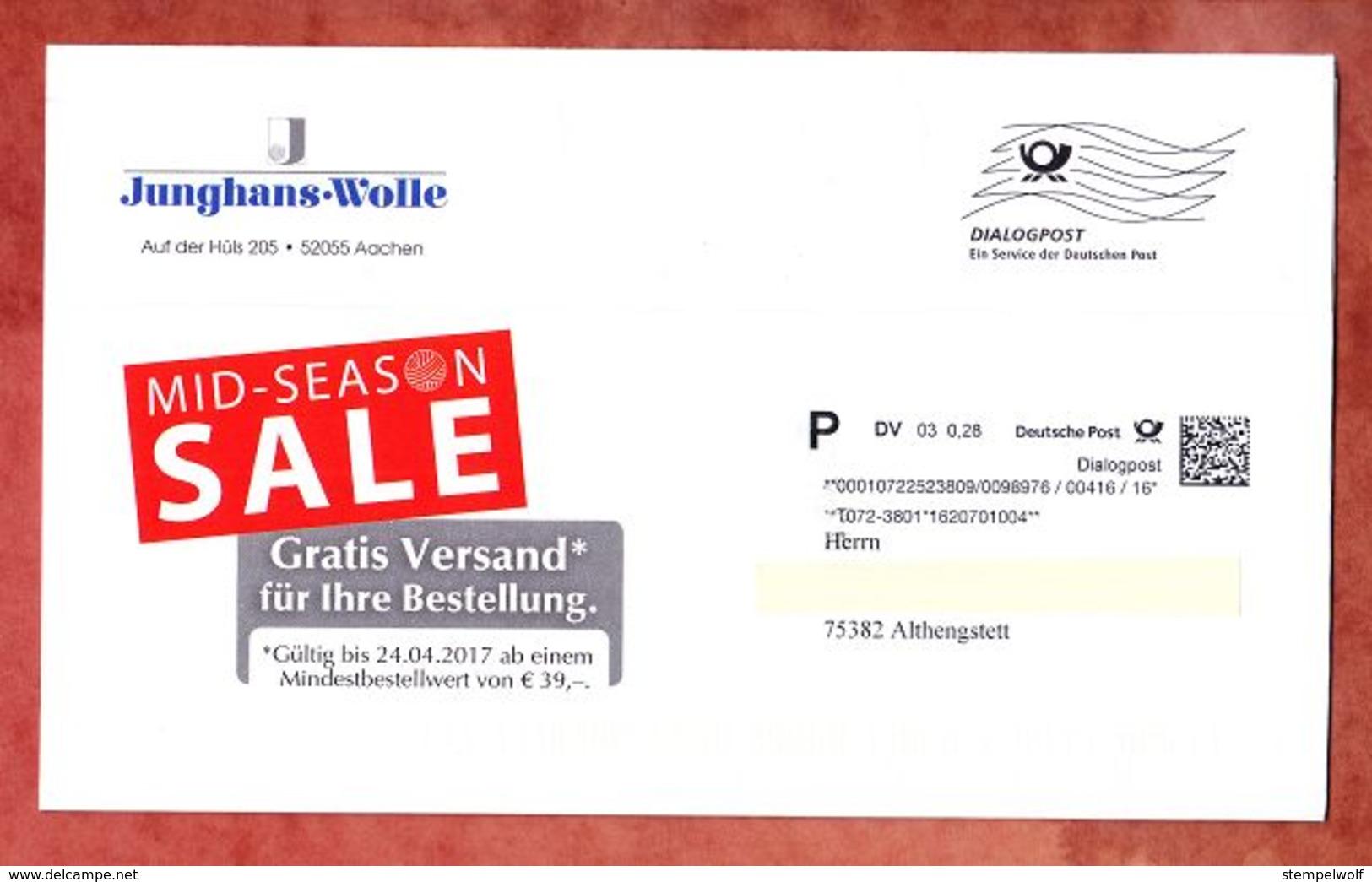 Dialogpost, Komplettes Faltblatt, Junghans-Wolle Aachen, DV 03, 28 C, Frankierwelle, 2017 (52104) - Machine Stamps (ATM)